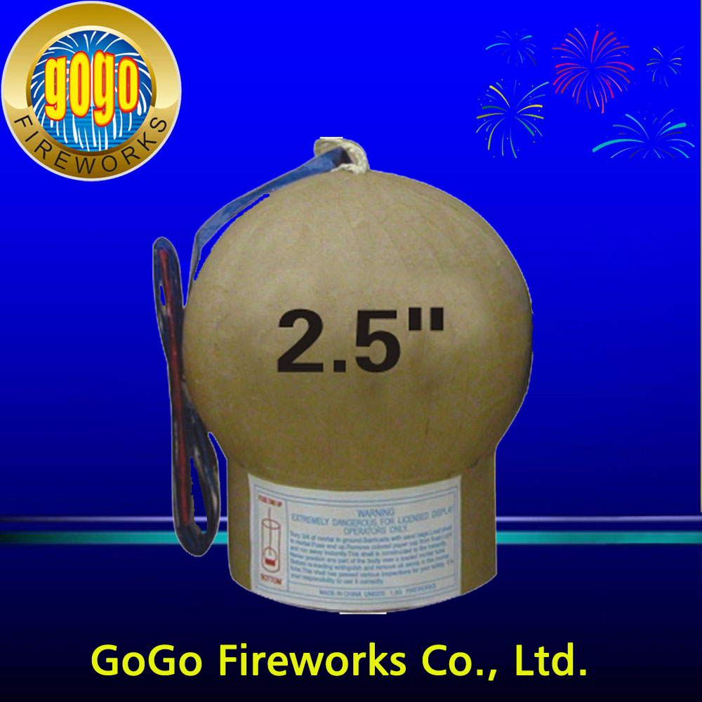 Factory direct sale display shell firework 2.5 inch 3 inch fireworks shells we can produce all diffrent size firework shell