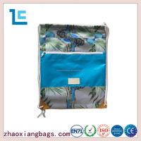 Zhaoxiang 2016 printing 420D promotional blue wet dry gym drawstring bag