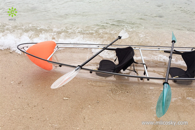 Transparent PC material whitewater rafting boats hard plastic fishing boats transparent canoe