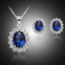 Bulk Wholesale dark blue gemstone noble lady wedding Jewelry Set