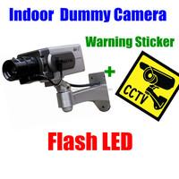 Wireless Indoor security Fake Dummy Camera Flashing LED Surveillance W/cctv camera warnning sticker decal