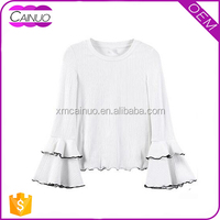 Blank Wholesale Round Neck Custom Ladies Plain Promotional Long Sleeve T Shirt