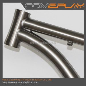 Titanium MTB bicycle frame 26 /27.5 /29er one piece tail hook and bent down tube 44 head tube bicycle frame