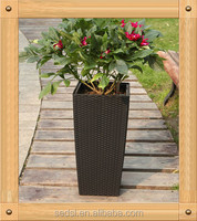 TB04 rattan coffee or mocha plastic flower pots