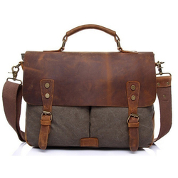 YD-1807 Custom Designer Vintage Shoulder Bag Naked Mens Leather Canvas Messenger Bag