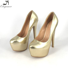 2018 Wholesale Ladies Wedding Shoes Waterproof Gold Platform Shoes Stiletto 160mm High Heels Party Sexy Pumps Women Dress Shoe