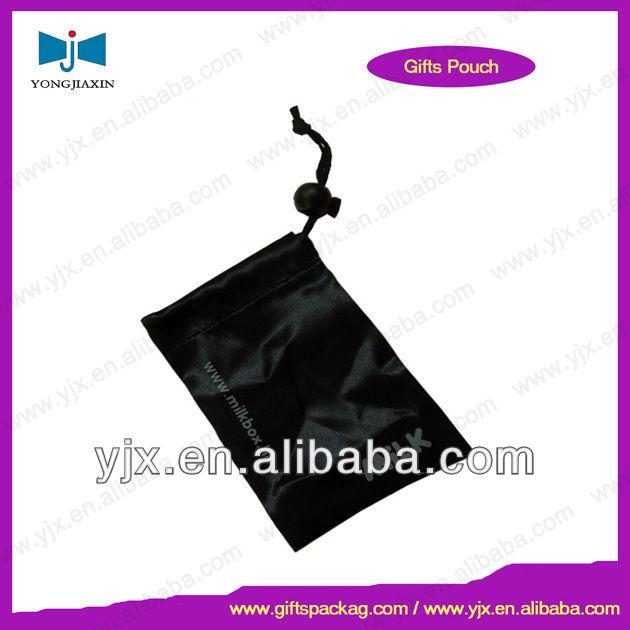 satin cell phone drawstring pouch with stopper