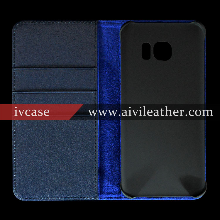 Dark Blue Cowhide Real Leather Wallet Card Holders Cover Case For Samsung s7 Edge With Stand Function
