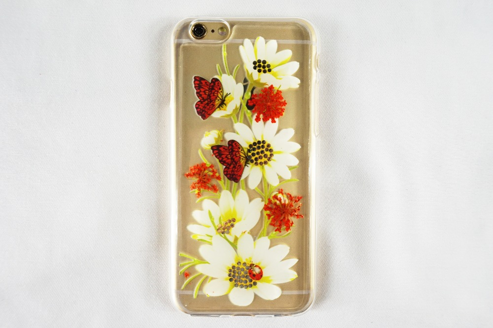 2016 Fashion Real Dry Flowers Phone Case For Iphone 6 Mobile Phone Case