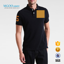Navy plain polo shirt with orange yellow embroidered pattern Custom label cheap pique polo shirt for man