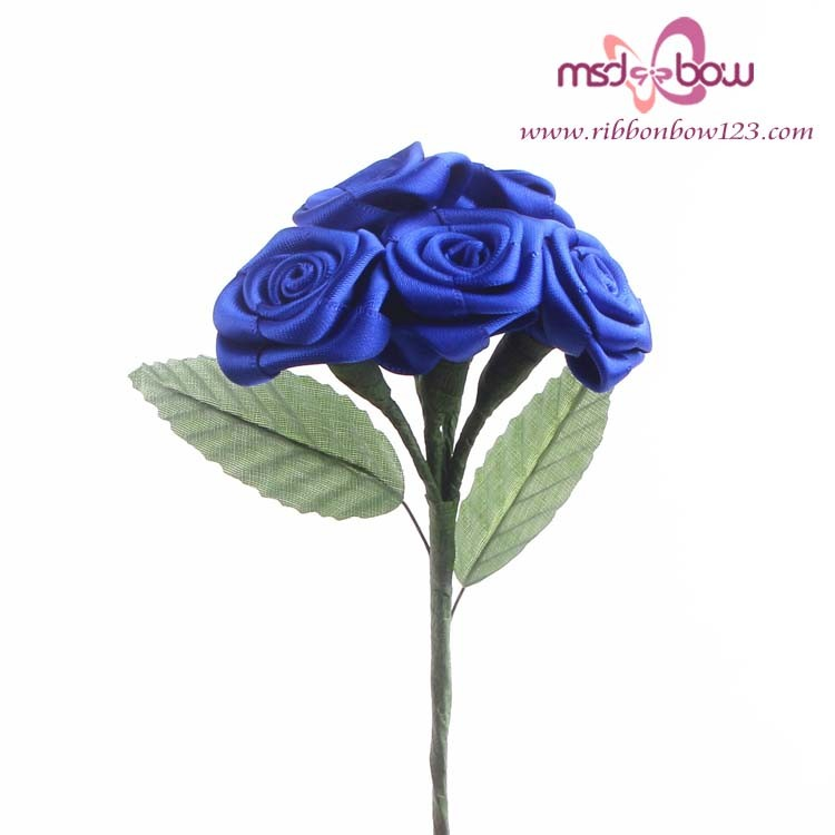 Wholesale artificial roses satin ribbon handmade flowers
