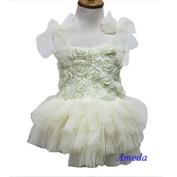 Cream Ivory Rosettes Rose Tutu Party Dress Wedding Flower Girl Pettiskirt 1-7Y