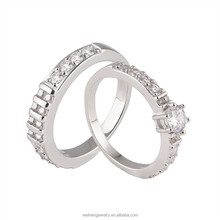 wholesale CZ rhodium color imitation diamond jewelry sterling silver 925 wedding rings set for couples