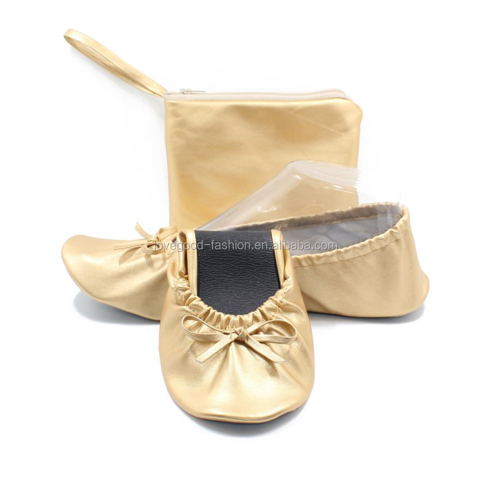 Gold PU Leather Dancing Foldable Ballet Flats with Pouch for Women