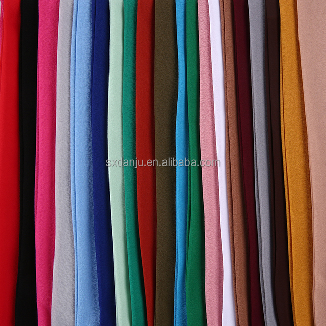 Customized COLOR 75D chiffon plain pure chiffon silk poly clothing woven dyed fabric