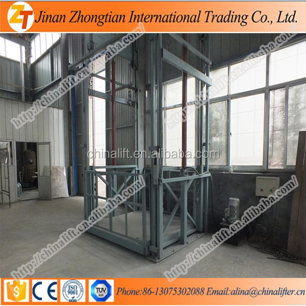 Indoor used cargo guide rail lift/warehouse construction material elevator price