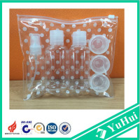 Hot sell plastic travel kit/travel cosmetic bottle set with PVC bag