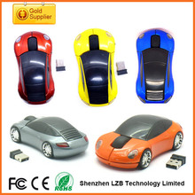 New fashion 2.4Ghz Wireless Computer Race Car Mouse With Blue Headlights car mice