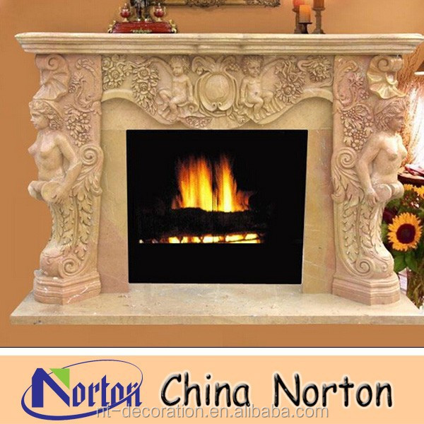 Yellow Arched marble fireplace NTMF-F324W