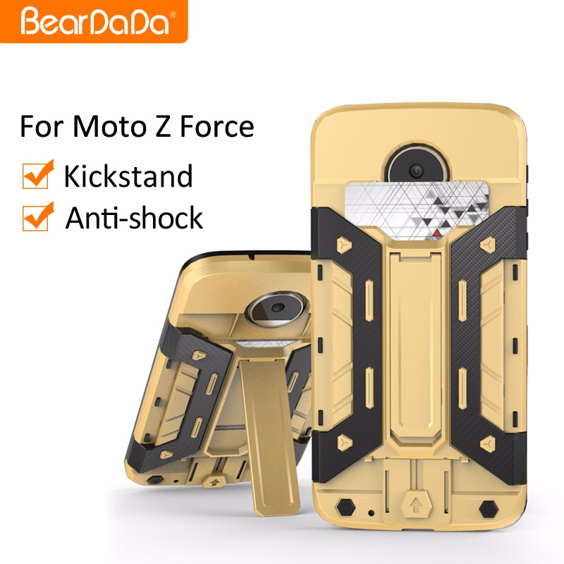 Multi-function kickstand card holder case cover for moto z force