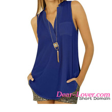 Women In Blue Button V Neck Sleeveless Chiffon Blouse Blusas Mujer