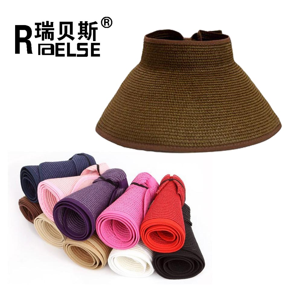 fashion girl lady beach sun visor hat foldable roll up wide brim straw hat wholesale hats