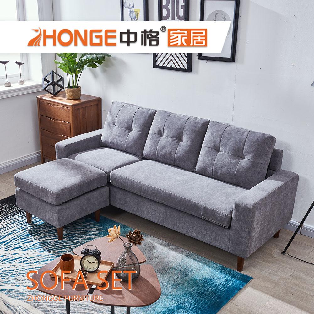 Living Room Malaysia Design Modern Gery L Shaped Corner Fabric