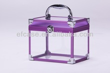 NEWL STYLE TRANSPARENT ACRYLIC CARRYING BEAUTY CASE,COSMETIC CASE WITH PURPLE ALUMINUM FRAME