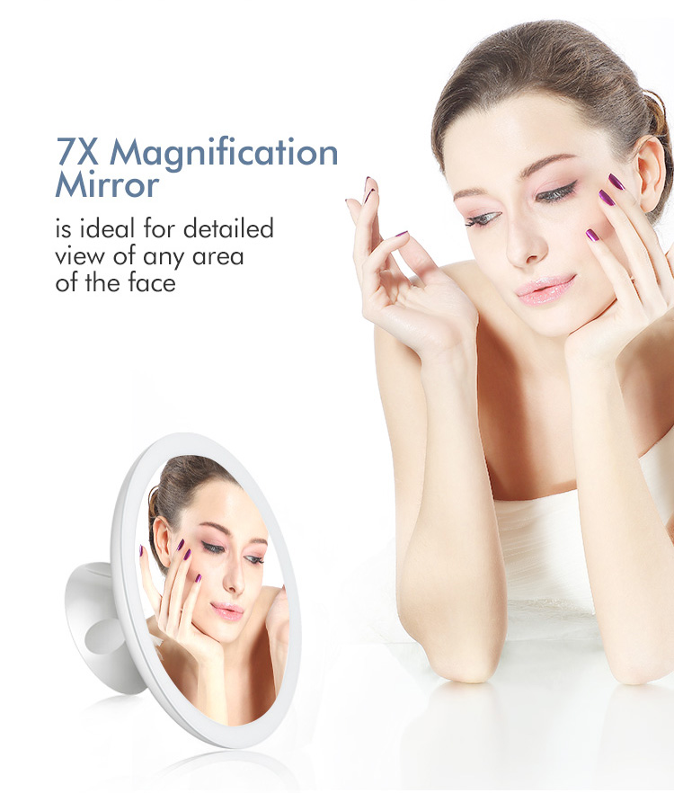 2018 Hot selling Wholesale Rechargeable LED 7X magnification Makeup mirror professional with built-in LED ring light