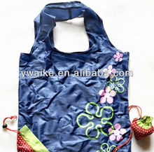 promotional strawberry polyester foldable shopping bag