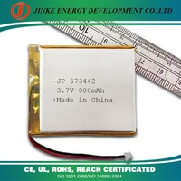 China manufacturer wholesale 800mAh 3.7V lithium polymer battery with PCB