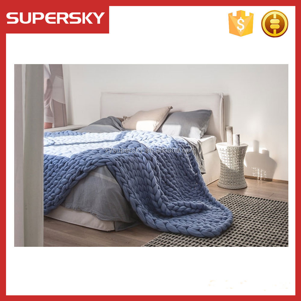 M13 Hot merino wool throw blanket wool bed blanket bulky knit giant stitch super fine knit wool cozy