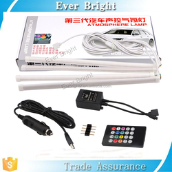 New Products ideas 4PCS Car RGB LED Strip Light Atmosphere Lamp Kit Foot Lamp Remote Control Auto Decoration lamp