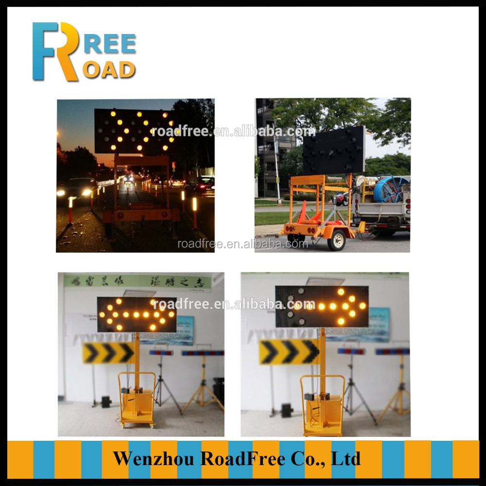 Solar Mobile arrow trailer LED flashing traffic direction sign