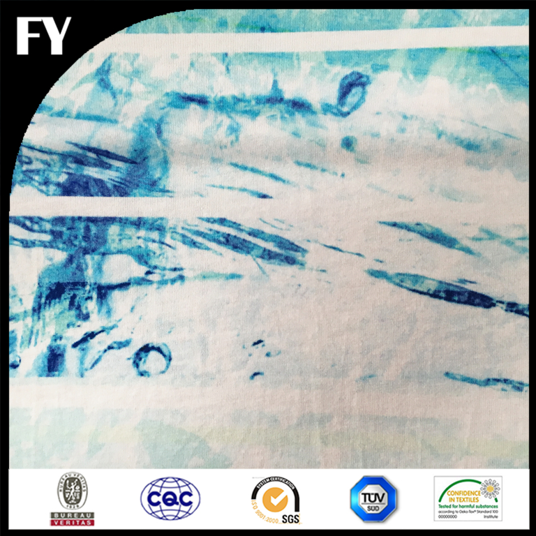 Custom digital printing cotton blue and white fabric