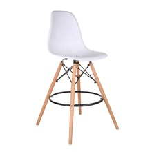 High Wood Leg Plastic Bar Chair with Footrest, White PP Counter Bar Stool with Wood Leg for Home <strong>Furniture</strong>