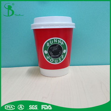 Green healthy paper and logo printing 2017 double wall paper coffee cups for advertising