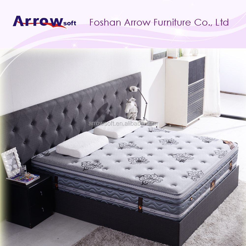 Luxurious high class pocket spring euro top latex mattress