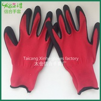 Anti-static black PU coated red polyester safety glove