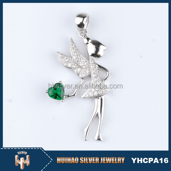 HUIHAO wholesale latest design 925 silver angel wings heart charm pendant