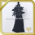 Fashion hotsales black 3D leather tassel, suede leather tassels for sarees FT-041