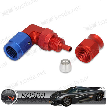 racing AN 3 90 degree aluminum red and blue pipe fitting for brake line