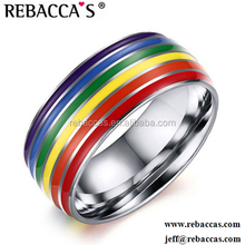 Rebaccas Stainless Steel Rainbow Logo Barbell Tongue Ring