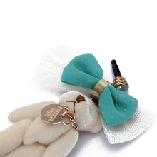 Fashion cute phone dust plug with Bow and Bear