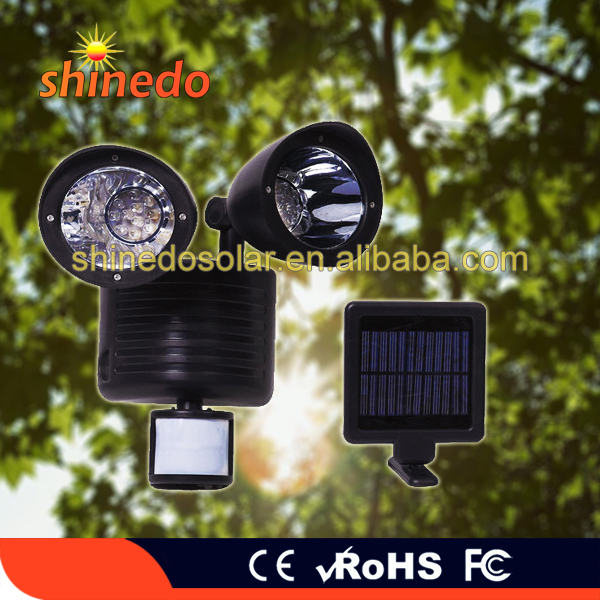 Dual Heads China Suppliers Pir Motion Sensor Outdoor Wall Solar Panel Light