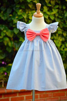 Seersucker girl dress kids summer clothes dress for girls of 7 years old