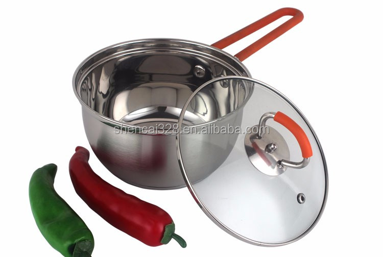 18/8 Stainless steel cookware set with silicone handle