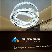 modern chrome glass crystal art decoration ring pendant lighting