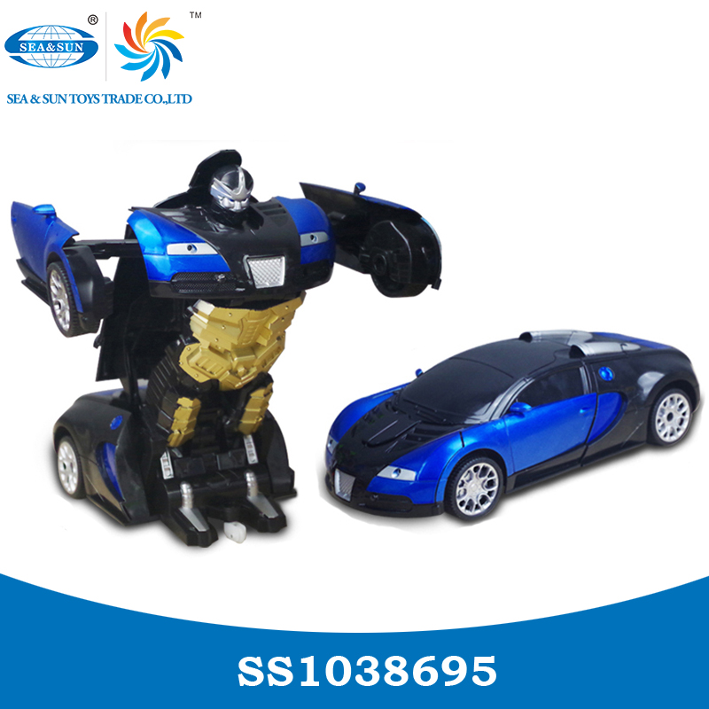 Wholesale kids intelligent 1:14 rc DIY car transform robot deformation toys