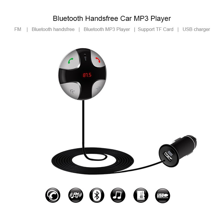 2016 New Stereo Bass Wireless Bluetooth Car Kit Speaker Speakerphone Handsfree Car Kit for iPhone 5 6 Samsung s5 s6 HTC Sony